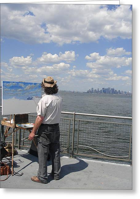 Artist At Work Greeting Cards - Artist at Work manhattan  Greeting Card by Ylli Haruni