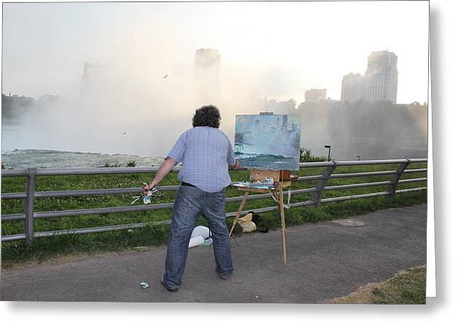 Artist At Work Greeting Cards - Artist at Work niagara falls ny Greeting Card by Ylli Haruni
