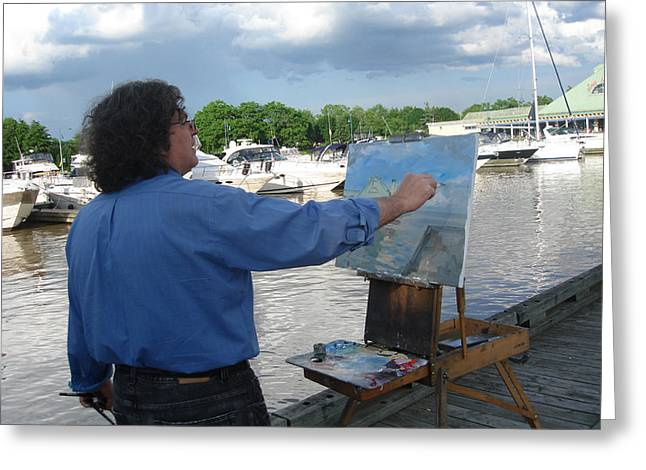 Artist At Work Greeting Cards - Artist at Work port credit Mississauga ON Greeting Card by Ylli Haruni