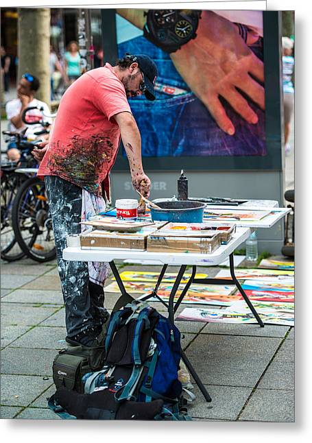 Downtown Area Pictures Greeting Cards - Artist in public Greeting Card by Frank Gaertner