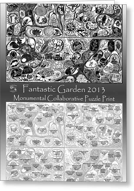 Print Reliefs Greeting Cards - Artist Map Fantastic Garden 2013 Greeting Card by Maria Arango Diener