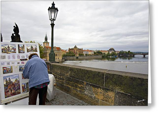 River View Greeting Cards - Artist on the Charles Bridge - Prague Greeting Card by Madeline Ellis