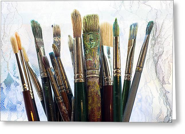 Artist paintbrushes Greeting Card by Garry Gay