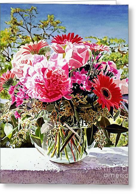 Glass Vase Greeting Cards - Artist Studio Still Life Greeting Card by David Lloyd Glover