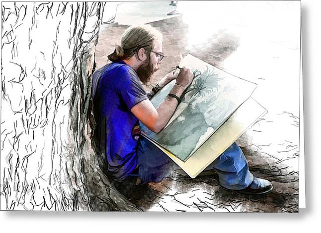 Asheville Mixed Media Greeting Cards - Artist Under a Tree Greeting Card by John Haldane