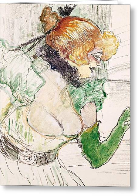 Collar Greeting Cards - Artist with Green Gloves - Singer Dolly from Star at Le Havre Greeting Card by Henri de Toulouse Lautrec
