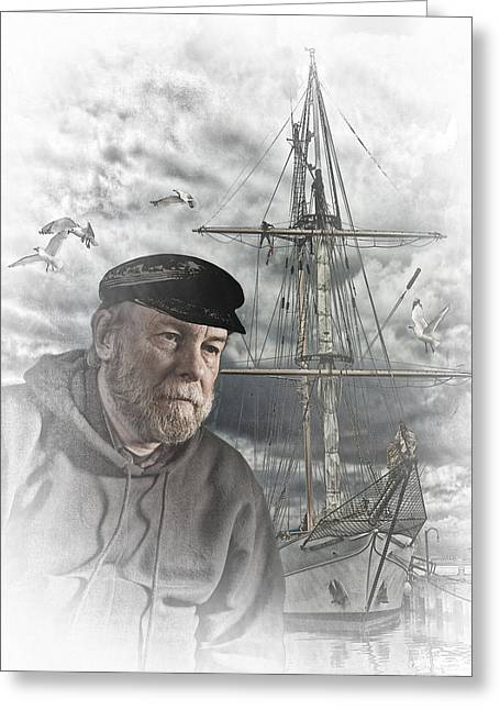 Men; Male; Males; People; Old Greeting Cards - Artistic Digital Image of an Old Sea Captain Greeting Card by Randall Nyhof