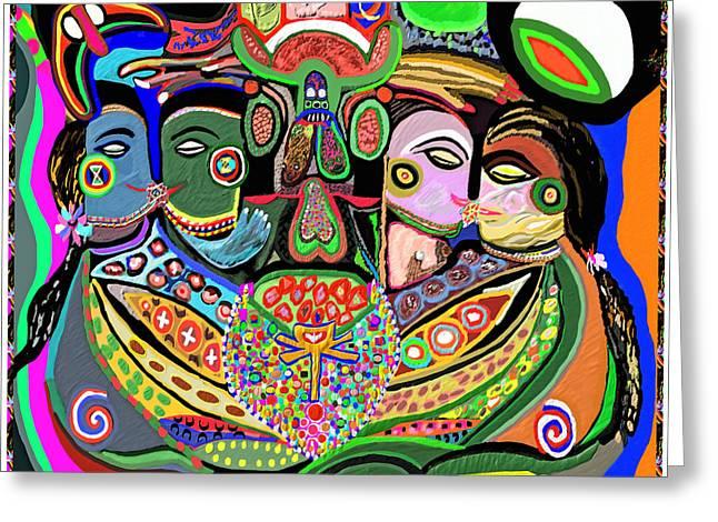 Reprint Greeting Cards - Artistic Display of ORGASM TANTRA system of SEXUAL Arousal thru Yoga Asana Mantra Chant Vibration En Greeting Card by Navin Joshi