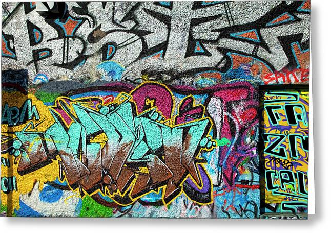 Artistic Graffiti On The U2 Wall Greeting Card by Panoramic Images
