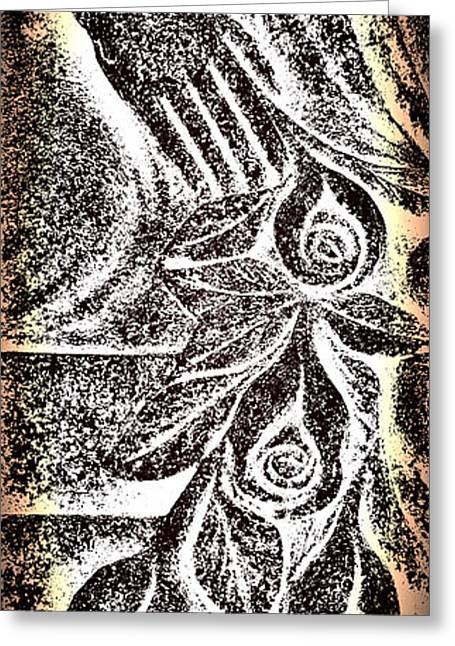 Linocut Greeting Cards - Artistic Hand And Flowers Greeting Card by Pat Exum