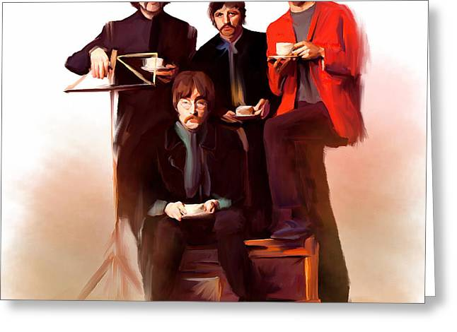 Lonely Hearts Club Band Greeting Cards - Artistic Masters III The Beatles  Greeting Card by Iconic Images Art Gallery David Pucciarelli