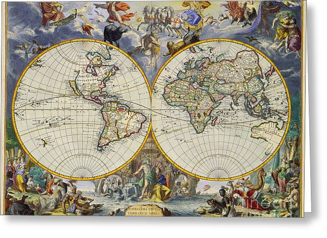 World Map Print Photographs Greeting Cards - Artistic Old World Art Map  Greeting Card by Inspired Nature Photography By Shelley Myke