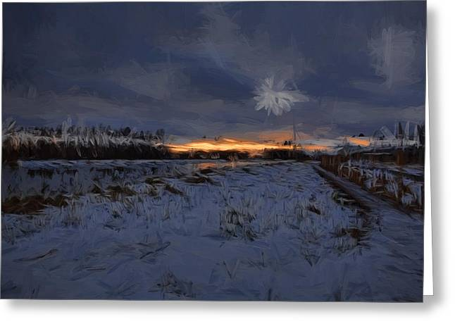 Reflection Of Sun In Clouds Greeting Cards - Artistic painterly 1  Early morning January 2015 Greeting Card by Leif Sohlman