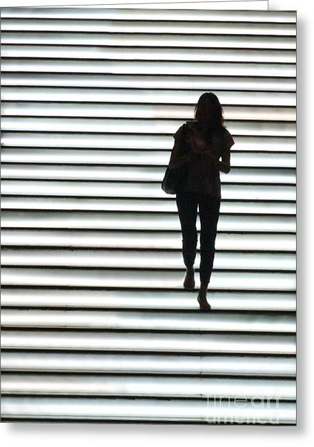 Silhouettes Greeting Cards - Artistic Silhouette Girl walking down Greeting Card by Lars Ruecker