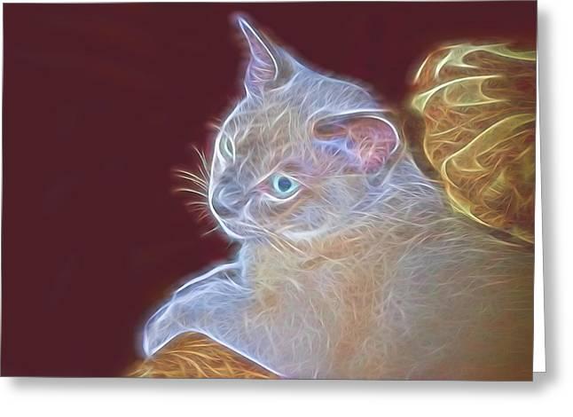 Air Brush Greeting Cards - Artistic Tonkinese Kitten Greeting Card by Linda Phelps