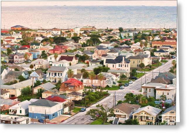 Galveston Greeting Cards - Artistic View to the Gulf of Mexico Greeting Card by Barbara Rabek