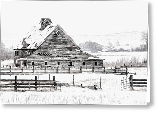 Winter Digital Photo Scene Greeting Cards - Artistic Winter Barn Greeting Card by Mary Jo Allen