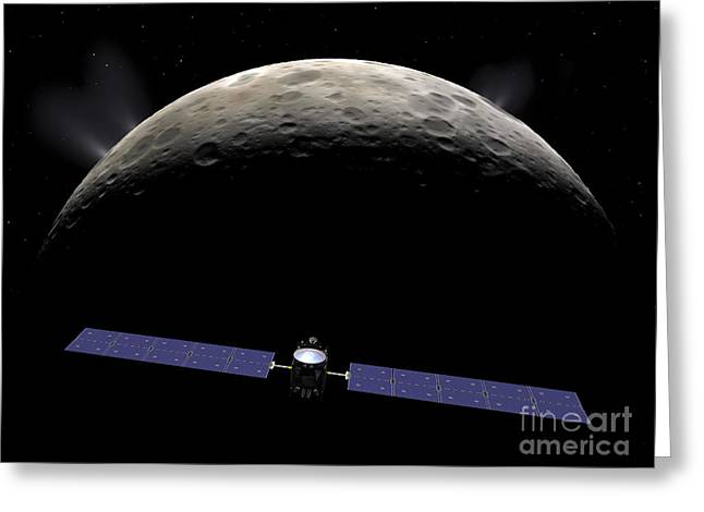 Interstellar Space Digital Art Greeting Cards - Artists Concept Of The Dawn Spacecraft Greeting Card by Walter Myers