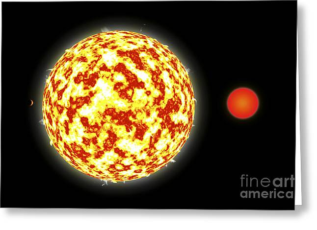 Binary Stars Greeting Cards - Artists Depiction Of A Binary Star Greeting Card by Marc Ward