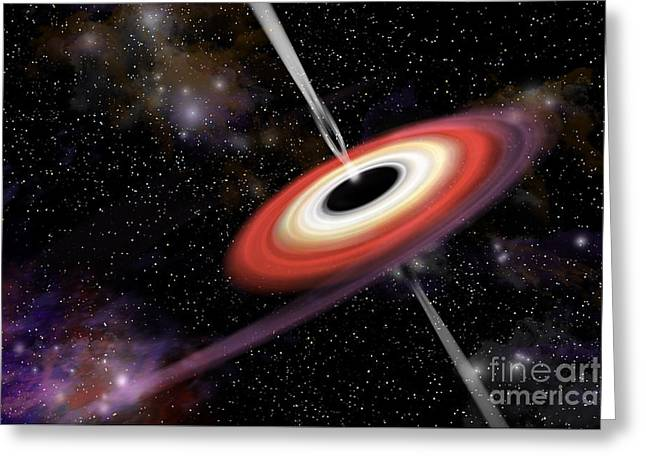 Jet Star Greeting Cards - Artists Depiction Of A Black Hole Greeting Card by Marc Ward