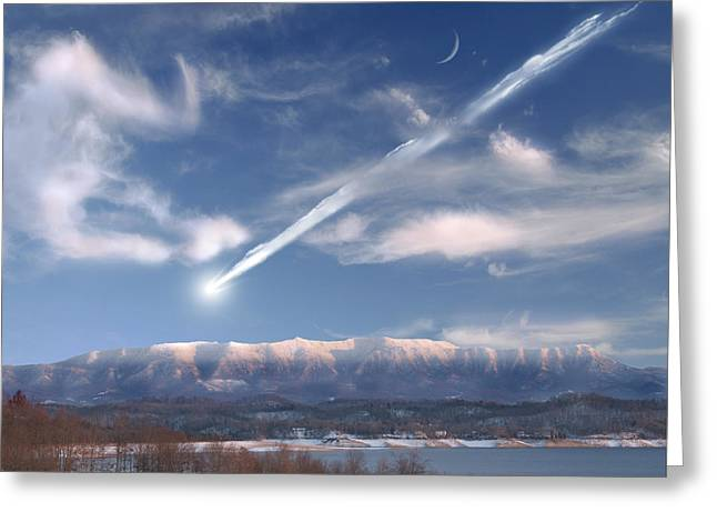 Storm Cloud On The Horizon Greeting Cards - Artists Depiction Of A Large Meteor Greeting Card by Marc Ward