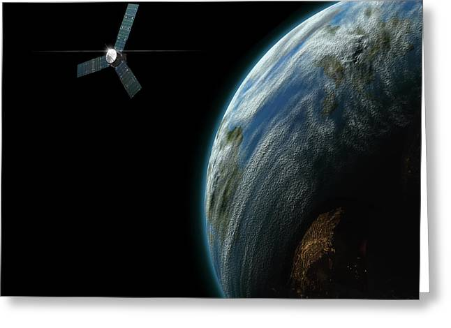Astrogeology Greeting Cards - Artists Depiction Of A Satellite Greeting Card by Marc Ward