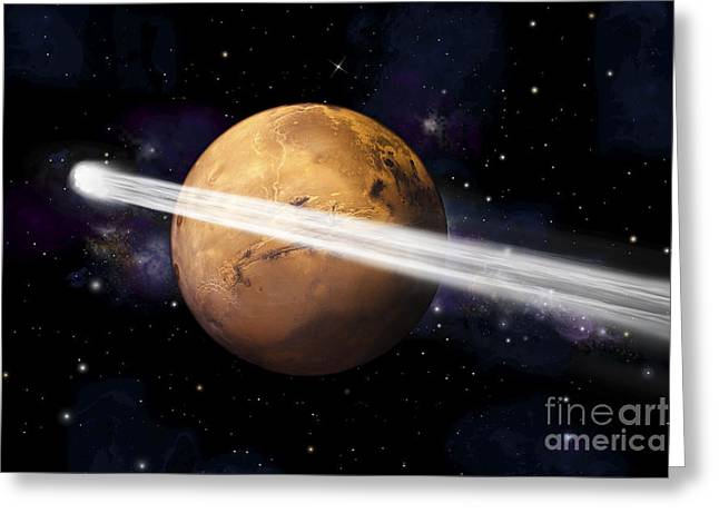 Luminous Globe Greeting Cards - Artists Depiction Of The Comet C2013 A1 Greeting Card by Marc Ward