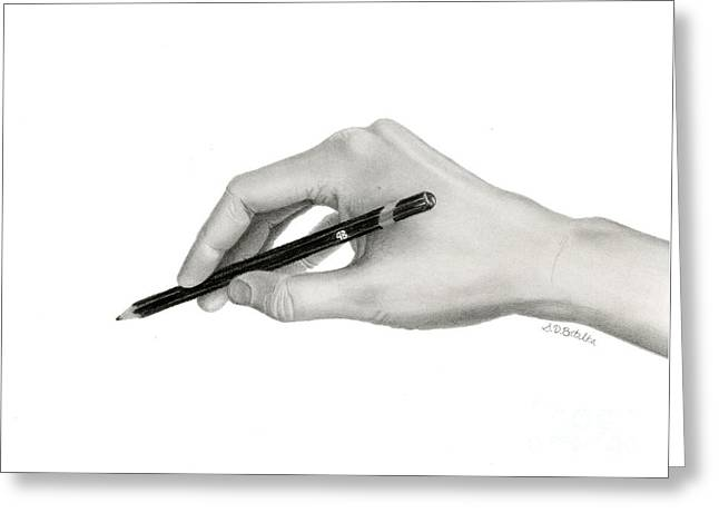 Hyper-realism Greeting Cards - Artists Hand Greeting Card by Sarah Batalka