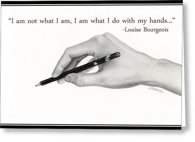 Human Beings Drawings Greeting Cards - Artists Hand With Text Greeting Card by Sarah Batalka