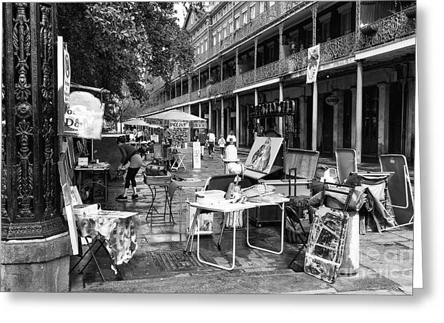 Artists In The Square Mono Greeting Card by John Rizzuto