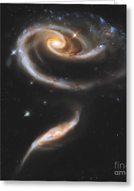 Merging Greeting Cards - Artists Painting Of Arp 273, A Group Greeting Card by Carlyn Iverson