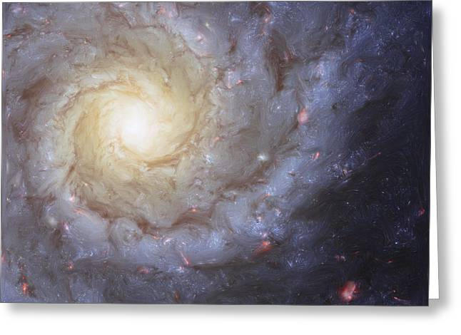 Painted Image Greeting Cards - Artists Painting Of Spiral Galaxy Greeting Card by Carlyn Iverson
