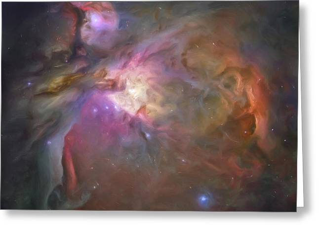 Painted Image Greeting Cards - Artists Painting Of The Orion Nebula Greeting Card by Carlyn Iverson