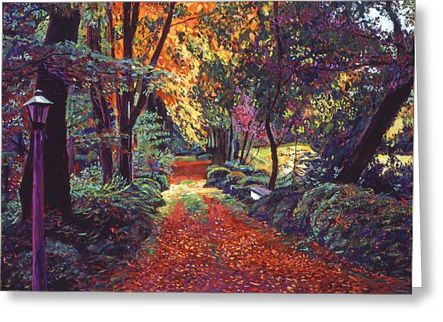 Fallen Leaf Paintings Greeting Cards - Artists Walk Greeting Card by David Lloyd Glover