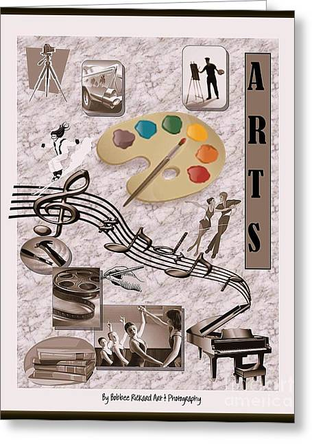 Acrylic Calligraphy Print Greeting Cards - Arts Collage Greeting Card by Bobbee Rickard