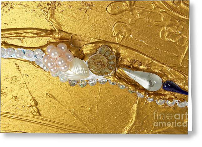 Spirit Reliefs Greeting Cards - Artscape No. 3 The golden flow of peace Greeting Card by Heidi Sieber
