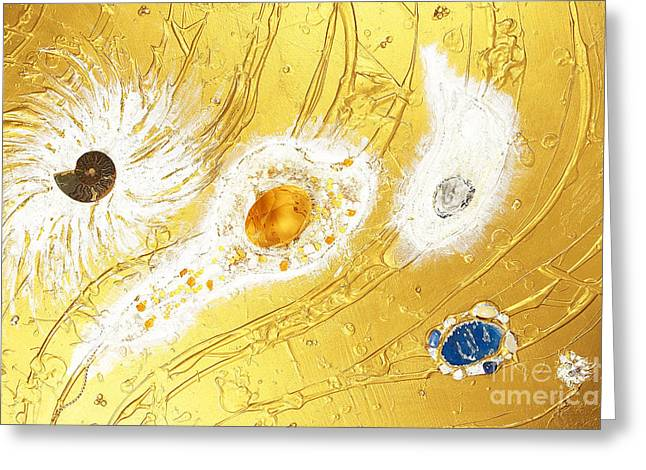 Spiritual Art Reliefs Greeting Cards - Artscape No. 2 The golden peace flow of creation Greeting Card by Heidi Sieber