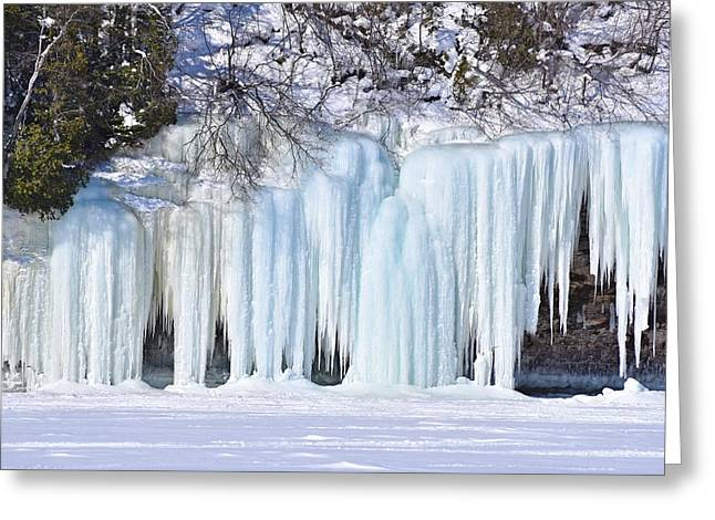 Caves Greeting Cards - Artsy Icicles at the Grand island Ice Caves Greeting Card by Kathryn Lund Johnson