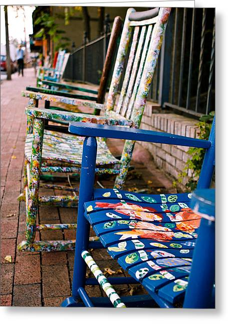 Blue Ridge Mountains Greeting Cards - Artsy Rocking Chairs in Black Mountain NC Greeting Card by Mela Luna