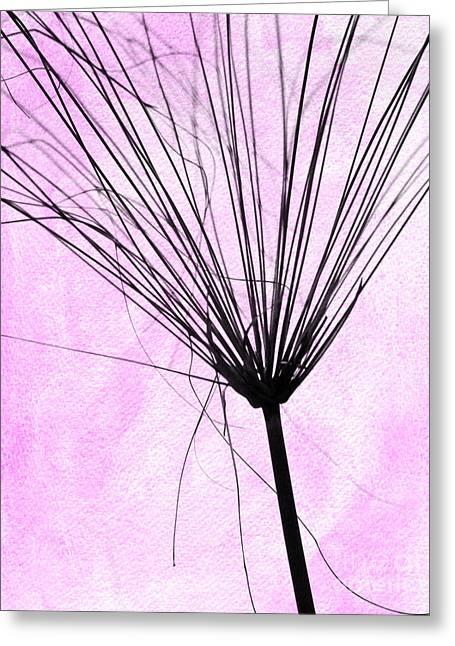 Weedy Greeting Cards - Artsy weed in Pink Greeting Card by Sabrina L Ryan