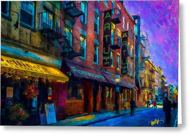 Brick Buildings Mixed Media Greeting Cards - Artu Greeting Card by Michael Petrizzo