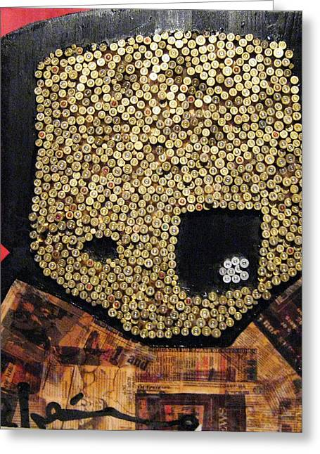 Haitian Mixed Media Greeting Cards - Artus Face In Gold Greeting Card by Voodo Fe Culture