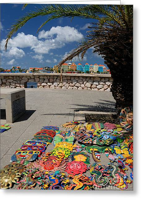 Artwork At Street Market In Curacao Greeting Card by Amy Cicconi