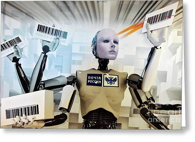 Postal Greeting Cards - Artwork Depicting A Postal Robot Greeting Card by Ria Novosti