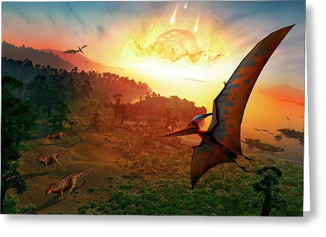 Artwork Depicting Extinction Of Dinosaurs Greeting Card by Mark Garlick