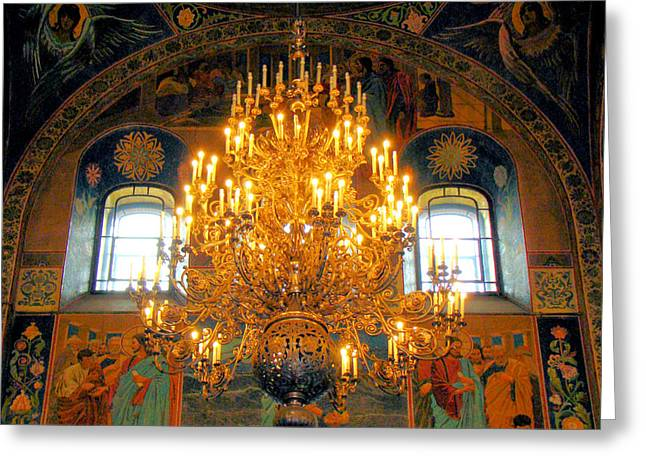 Church On Spilled Blood Greeting Cards - Artwork In A St Petersburgh Church Greeting Card by Richard Rosenshein