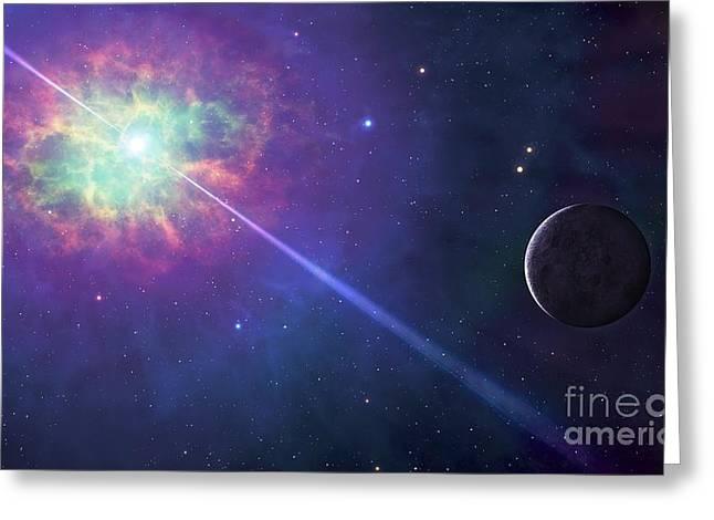 Pulsar Greeting Cards - Artwork Of A Planet Orbiting A Pulsar Greeting Card by Mark Garlick