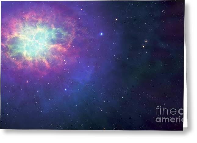 Neutrons Greeting Cards - Artwork Of A Supernova Remnant. Greeting Card by Mark Garlick
