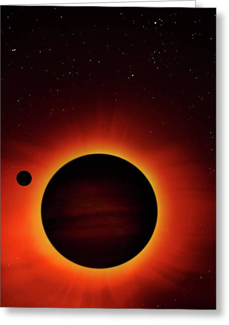 Artwork Of Exoplanet Eclipsing Its Star Greeting Card by Mark Garlick