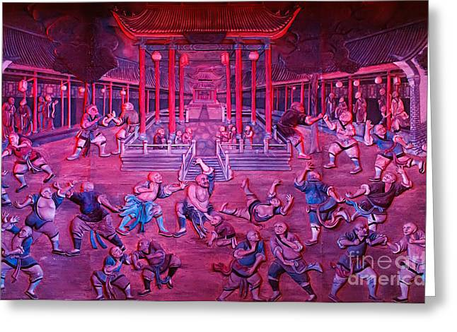 Kung Fu Greeting Cards - Artwork of Shaolin monks practicing in front of the Temple Greeting Card by Oleksiy Maksymenko